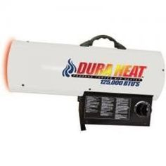 Forced Air Heater White Regular price$ 249.99 Add to Cart World Marketing DH LP Forced Air Heater White  DuraHeat LP Forced Air Heater - White. This forced air LP heater provides uop to 125,000 BTU's of heat. It features variable heat settings. There is continuous ignition for ehnaced durability. low pressure system. premium quality motor. brass nozzles. rear steel guard protects motor and fan from bumps. 125000 BTUs. 120 VAC, 84W, .7 amps. 3200 sq ft coverage. 6 ft cord.