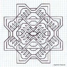 Graph Paper Art made by myself Graph Paper Drawings, Graph Paper Art, Zentangle Drawings, Blackwork Patterns, Blackwork Embroidery, Zentangle Patterns, Drawing Grid, Geometric Drawing, Graph Design
