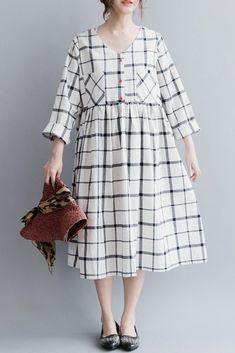 Plaid Cute White Women Long Dresses Casual Loose Lady Dress Q20415