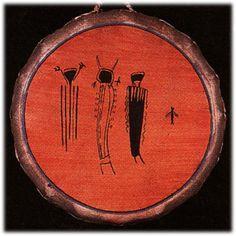 Native American Hand painted THREE SPIRITS ceremonial drum