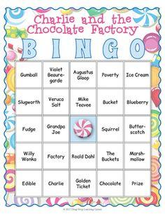 Charlie and the Chocolate Factory Bingo Game - My Winter Break 2020 Chocolate Party, Homemade Chocolate, Hot Chocolate, Charlie And The Chocolate Factory Crafts, Wonka Chocolate Factory, Chocolates, Italian Hot, Matching Cards, Bingo Games