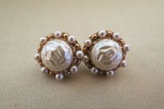 pearl clip on earrings vintage costume jewelry by TimesTwoBoutique, $18.00