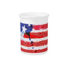 #watercolor grunge American Flag Beverage Pitcher - #LaborDay Labor Day #labor #day #patriotic #summer #barbecue #bbq #party