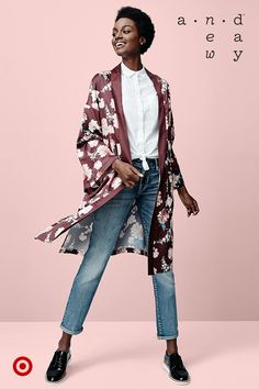 Need an outfit update? Swap out the cardigan for A New Day's sleek, floral kimono.
