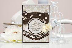Thanks For Listening Card by Yana Smakula - Scrapbook.com - Delicate die cutting and embossing on this stunning card.