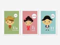 Children Decor Alphabet AZ Children Of The World With by loopzart, $30.00