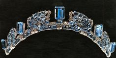 The Aquamarine Pineflower Tiara owned by Princess Anne of Great Britain.