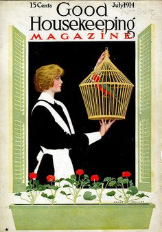 Coles Phillips - Good Housekeeping Magazine cover (July 1914) Fadeaway girl
