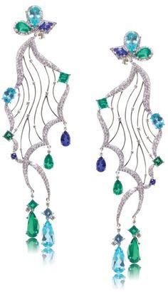 AGTA Spectrum Awards winner 18 K white gold earrings with white Diamonds, Tanzanite, Emeralds, and Paraiba. by Caroline C