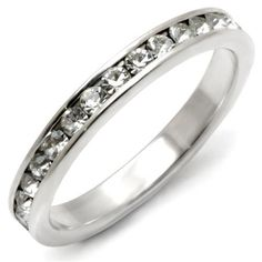 Sterling Silver Round Brilliant Crystal Eternity Ring
