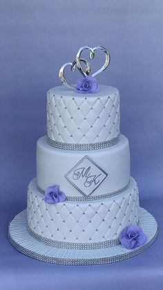 White and Silver wedding cake by Enza - Sweet-E - http://cakesdecor.com/cakes/213338-white-and-silver-wedding-cake