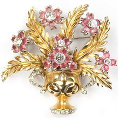 Reja Gold Leaves and Pink Topaz Flowers 'Gardenesque' Gold and Pave Flower Pot Pin