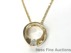 Huge 14k Gold Wearable 0.45ct Diamond Wedding Ring  Pendant w Chain Necklace #PendantwChain