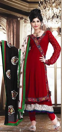 Red Full Sleeve Georgette Anarkali Salwar Kameez 15826