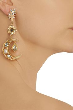 Percossi Papi - Sun and Moon mismatched gold-plated earrings with topaz, moonstone and sapphire