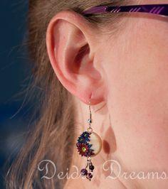 Red Blue Flower Earrings Polymer Clay Flower by DeidreDreams