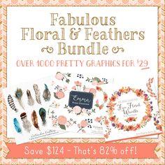 Fabulous Florals & Feathers Design Bundle