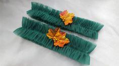 Emerald Green Tulle Bridal Garter Set Fall Leaves Net by Allofyou