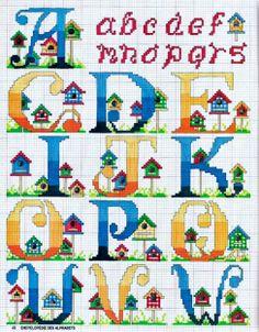 Ombre Birdhouse Alphabet 1/2
