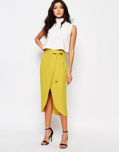 Image 1 of River Island Wrap Front Midi Skirt