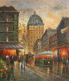 Canvas Art - Wall Art finished in USAHistory: Paris Delights is a hand finished canvas oil painting. Set in the bustling streets of Paris, France this canvas art is a beauti