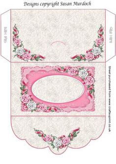 GIFT ENVELOPE MONEY WALLET ROSES for WEDDING BIRTHDAY on Craftsuprint - Add To Basket!