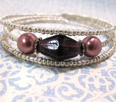 Beaded Memory Wire Bracelet Plum Purple and Mocha Brown by ebbead, $5.00