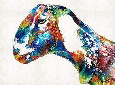 Colorful Goat Art PRINT