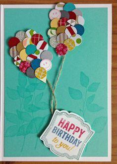 Geburtstagskarte mit Ballons   Birthday Greeting Card