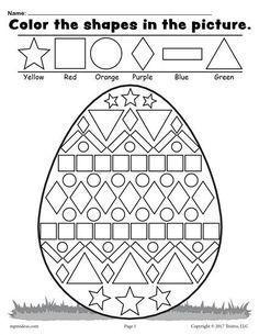 Easter Math Worksheets Kindergarten Easter Coloring Pages for Grade Easter Worksheets Nd Easter Worksheets, Shapes Worksheets, Kindergarten Worksheets, Printable Worksheets, In Kindergarten, Number Worksheets, Coloring Worksheets, Easter Printables, Easter Coloring Pages Printable