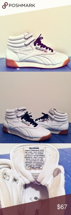 Reebok Freestyle Hi Classic White Reebok Freestyle Hi Classic White  Obsessed with these vintage Reebok's, but can't afford to keep them since I've only worn them twice 😢  In amazing condition, evident in sticker still in sole. Only flaw is two very small scuffs on back of sneakers.   Size 7 1/2, will also fit a size 7 great if you have wide feet or like to wear thick socks.   WILL PROVIDE EXTRA PAIR OF LACES UPON REQUEST :) Reebok Shoes Sneakers