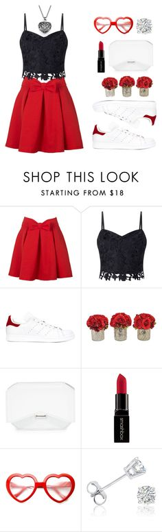 """""""White Sneakers"""" by mich-jene ❤ liked on Polyvore featuring Lipsy, adidas, Givenchy, Smashbox and Amanda Rose Collection"""