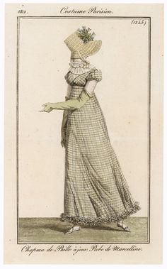 19th Century (Directoire/Empire Period): Round gown, long gloves, slippers, hat