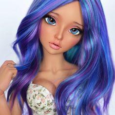 Join into #favedollcloseup #bjd #fairyland #minifee #minifeeceline #mnf #dollstagram #doll #dollsofinstagram #galaxy #galaxyhair #hairart #coloredhair