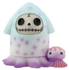 Furry Bones Squeed Purple and Blue Figurine. #StealStreet. Cute, adorable, pretty, girly, kawaii, skeleton, squid, sea creature, home, decor, toy