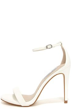 f729a702d06 Steve Madden Stecy White Snake Ankle Strap Heels