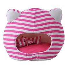 PlayDo Pet Dog Bed Cute Cats Head Stripe Canvas Cave Bed for Dogs Cats -- More info could be found at the image url.