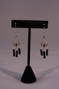 Black and silver chandelier earrings. Mountain Laurel Boutique