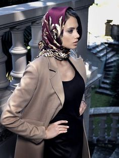 Patterned silk headscarf with trench