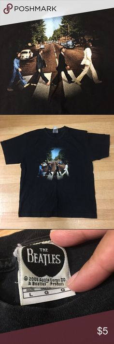 The Beatles band tee🎶 Rock out in this Beatles shirt! Size Youth Large. Can be stretched out to an Adult Small if desired. Gently worn a handful of times. There is a small hole in one underarm which the price reflects ✌🏼️  PRICE IS FIRM. Bundle to save! 🎀 Shirts & Tops Tees - Short Sleeve