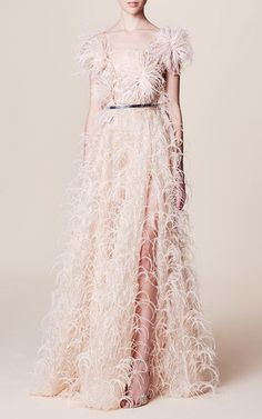 Feather Embroidered V Neck Gown by Marchesa   Moda Operandi