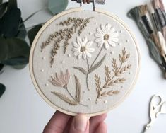Botanical embroidery hoop art, botanical plants cross stitch, earth tones floral embroidery wildflowers, nursery wildflowers cross stitch Hand Embroidery Projects, Flower Embroidery Designs, Hand Embroidery Patterns, Floral Embroidery, Name Embroidery, Diy Broderie, Needlepoint, Needlework, Crochet Cross
