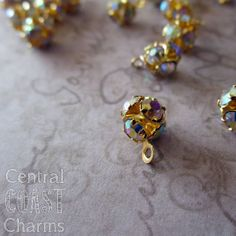 6mm Gold AB Czech Rhinestone Bead Drop Dangle 12 pcs - Vintage Style - Aurora Borealis - Disco Ball - Central Coast Charms