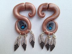 Copper & Bear Claws - Polymer Clay - Fake Gauged Earrings. $24.00, via Etsy.