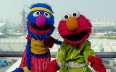 Grover and Elmo from Sesame Street visit the Olympic Park