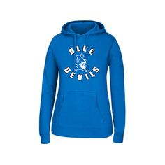 Women's J. America Duke Blue Devils College Cotton Pullover Hoodie ($40) ❤ liked on Polyvore featuring tops, hoodies, blue, sweatshirt hoodies, hooded sweatshirt, sweater pullover, blue hoodies and duke blue devils hoodie