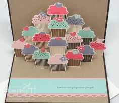 Stampin' Up! Stamping T! - Pop-up Cupcake Card Open (free pdf file for the 'pop-up' portion on Extreme Cards and Papercrafting) by Jill Diaz Fancy Fold Cards, Folded Cards, Pop Up Cards, Cute Cards, Libros Pop-up, Up Book, Card Tutorials, Kirigami, Kids Cards