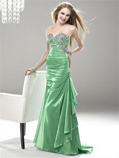 Sheath Strapless Sweetheart Beaded Pleated Satin Prom Dress PD1036 www.homecomingstore.com $229.0000