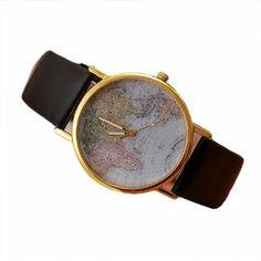 Retro Weltkarte Uhr Lederausstattung Leichtmetall Damen Analoge Quarz Armbanduhr Schwarz: Amazon.de: Uhren