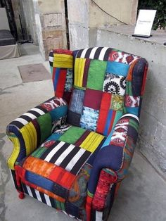 patchwork furniture in brights - It would be such fun to reupholster boring neutral tan chairs into something wild